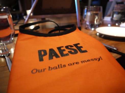 Paese cares just as much as Mom: no stains on your nice dress!