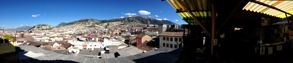 A view from the top floor terrace at the Secret Garden, Quito!