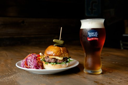 Lamb burger with Sam Adams