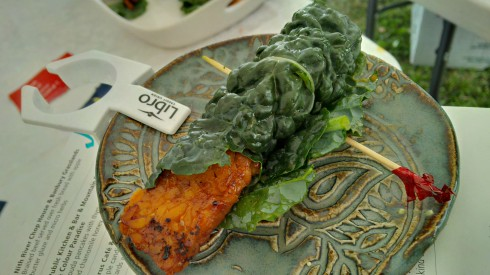 Maple candied tempeh wrap with fresh organic kale, collards and carrots (Pyrus Cafe and Pfennings Organic Vegetables)