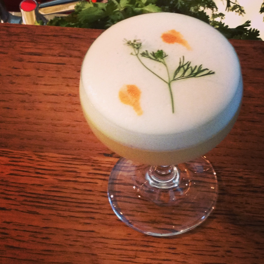 The beautiiful and delicate tasting Karate Kid cocktail from Manuel. , Special ingredients: gin infused with jasmine green tea, sake and yuzu juice.