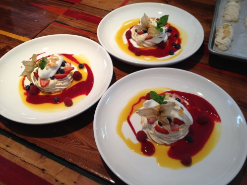 French Meringue with golden licorine, topped with lemon curd, wild blueberries, peaches, passion fruit sauce, and  raspberry coulis - who said vegetarians don't know how to have fun?